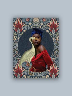 """Kolaż, plakat dekoracyjny """"Dama z żurawiem"""""""