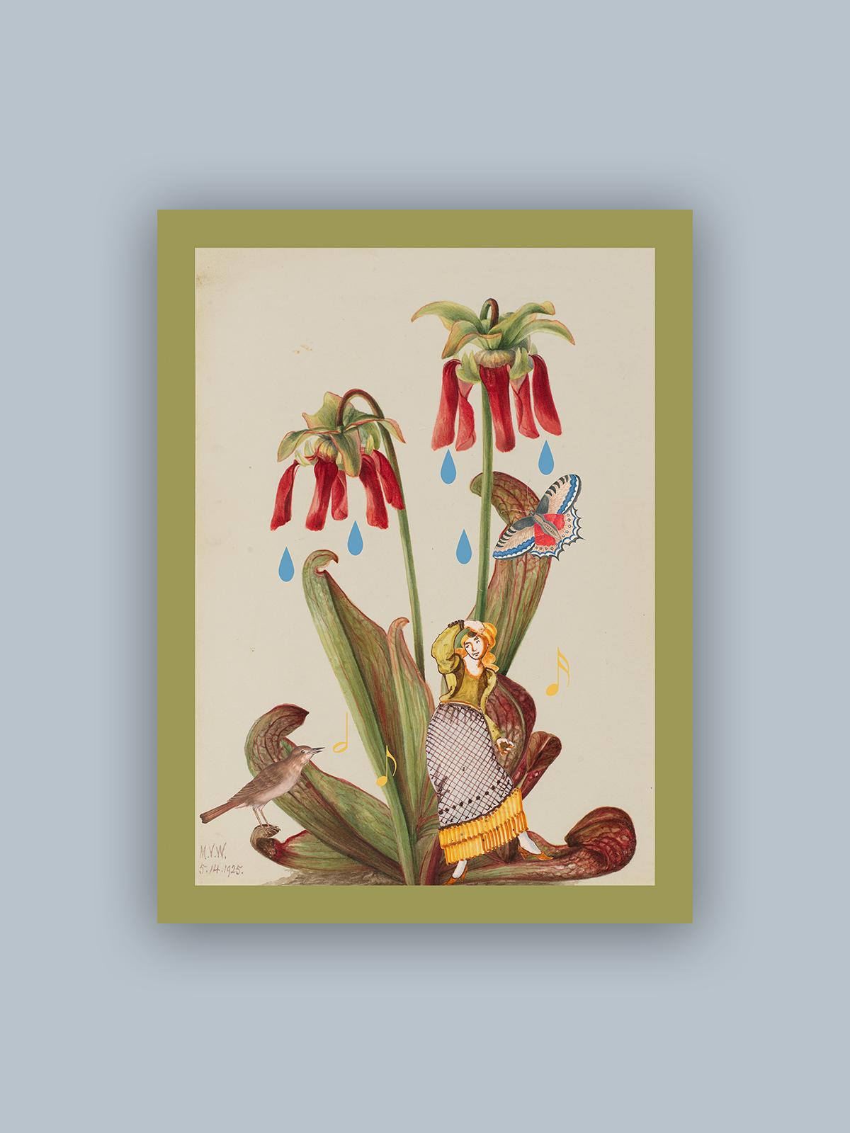 """Kolaż, plakat dekoracyjny """"Tańcząca w deszczu"""""""