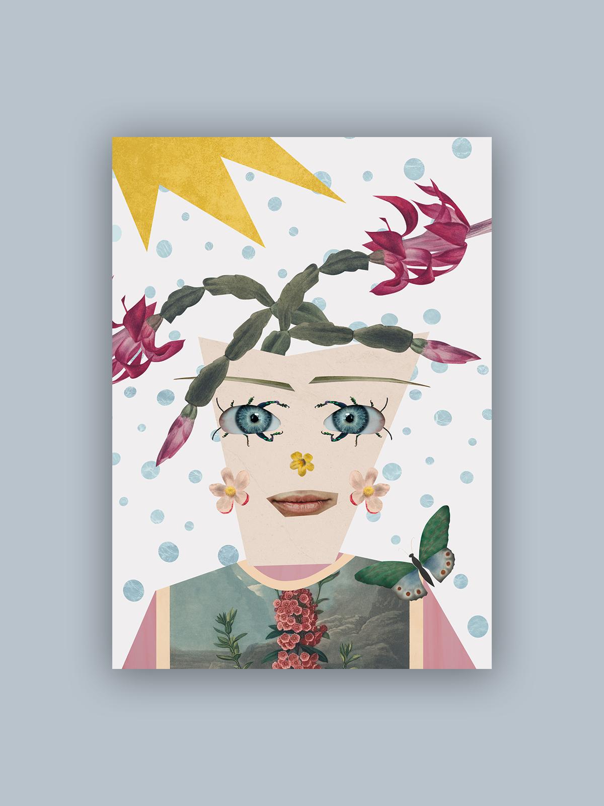 """Kolaż, plakat dekoracyjny """"Kwiaciarka"""""""