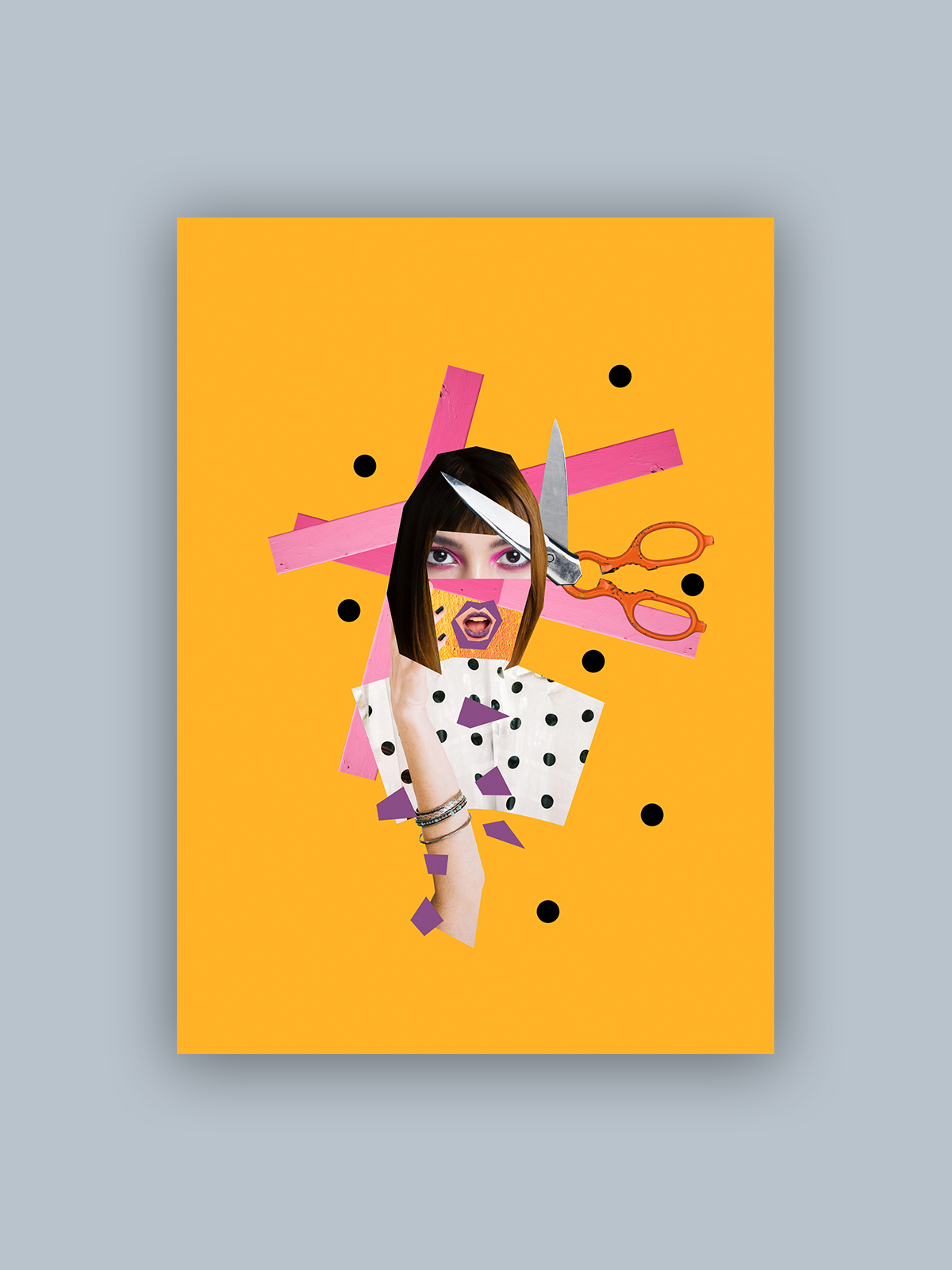 "Kolaż, plakat dekoracyjny ""Cięcie"""